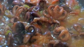 frigideira : Stir fried baby octopus and vegetables boil in sauce in a hot frying pan. Cooking seafood 4k 50 frames per second narrow depth of field. Close up macro footage.
