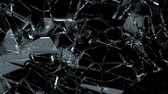 demolida : Broken and damaged glass slow motion Alpha matte Stock Footage