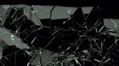 насильственный : Broken and damaged glass slow motion Alpha matte Стоковые видеозаписи