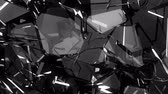 bullet hole : Pieces of destructed Shattered glass in slow motion. Alpha matte Stock Footage