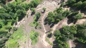 watercourse : Stony bed of dried mountain river. Aerial view.