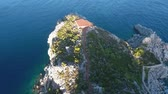 marmaris : Helipad on a rocky island. Aerial view. Stock Footage