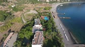 zátoka : Picturesque Turkish bay Kumlubuk. Footage from the drone. View of the Bay with piers and beach.