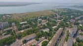 borough : Footage from the drone. The lake of Sakskoe in Saki, Crimea. Aerial view.