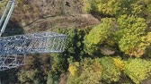 haute tension : Inspection of metal supports of high-voltage power line with a drone.