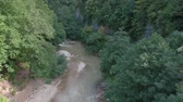 watercourse : Mountain river in a deep gorge. Aerial drone footage.