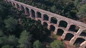 watercourse : Aerial view of the Roman aqueduct. Tarragona, Spain. Stock Footage