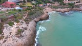 入り江 : Rocky coast of the Mediterranean sea. Aerial view. 動画素材