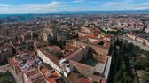 catholic church : Aerial view of the historic district and Tarragona Cathedral.