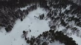 岩石層 : Panoramic aerial view of snowfall in mountainous wooden area.