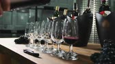 tatma : Pouring wine into wineglasses for degustation. Stok Video