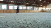 dressage : Woman on horse walking slowly on arena. Stock Footage