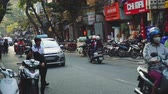 混雑した : The Bustling Street Scene Of Hanoi, Vietnam, Old Town, Motorcycles, Cars Traffic 動画素材