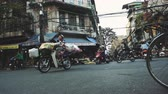 opstopping : The Bustling Street Scene Of Hanoi, Vietnam, Old Town, Motorcycles, Cars Traffic Stockvideo