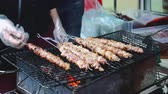 crocodilo : Grilling Meat, Street Food. Crocodile Meat Skewer Bbq Roasted In Asian Street Market Exotic Food.