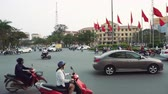 opstopping : Busy Rush Hour Traffic At Dusk In Vietnam