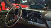 luksus : Beautiful interior of vintage vehicle showing on exhibition in the museum Wideo