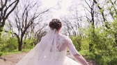 wedding veil : Newlyweds Walk in Nature Stock Footage