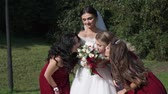 bride and bridesmaids at outdoor