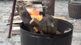 gulash : fire bowl with wood and flames in a garden medieval