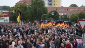 protesters : Chemnitz, Germany - September 01, 2018: Afd demonstration Trauermarsch