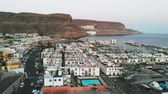 canárias : Aerial forward view of little spanish port city Puerto Mogan, Gran Canaria