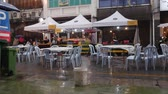 George Town, Malaysia - 13 April 2019, it rained at street food festival. 4k