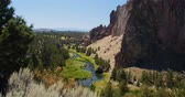 Green Forest & Red Desert Landscape Background, Smith Rock State Park