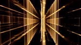 linha do horizonte : Dynamic golden translucent cubical horizon, grid - vertical geometrical perspective rotating and stretching off to infinity, black background, abstract illustration, animation,  seamless loop Vídeos