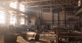 tons : Factory beam crane moves on top of a large welding workshop. Workers weld metal structures at plant and move cargo. 4k timelapse video