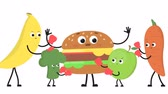 caricatura : Vegetables and fruits beat burger.