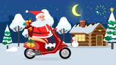 Happy Santa Claus riding on a moped across winter forest Dostupné videozáznamy
