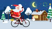 Happy Santa Claus riding on a bicycle across winter forest
