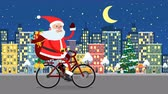papai noel : Happy Santa Claus riding on a bicycle over the night city