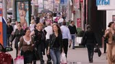 The walking people on one of the central streets in Moscow, Russia Stock Footage