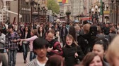 The walking people on Old Arbat Street in Moscow, Russia