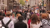 The walking people on Old Arbat Street in Moscow, Russia rapid Stock Footage