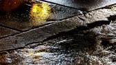 sinal de alerta : Seamless loop of warning light reflection on wet street Stock Footage