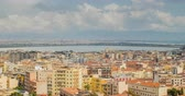 balcony view : Cityscape of Cagliari, Italy, top view, timelapse