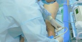 varicose : Innovative method of varicose veins surgery, sclerotherapy procedure. Close-up shot of patient legs