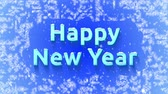 чувство : Dynamic screensaver Happy New Year! in English. Bulk text appears on ice. Letters are powdered with snow. Snowing. Стоковые видеозаписи