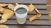 Coffee to takeaway. Coffee to go on bench with yellow leaves in the autumn park. 4k video. Stock Footage