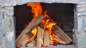 çatırtı : Hot fireplace full of wood and fire