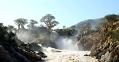 наводнение : famous Epupa Falls on the Kunene River in Northern Namibia and Southern Angola border. Sunrise sunlight in water mist. This is africa. Beautiful landscape. Стоковые видеозаписи