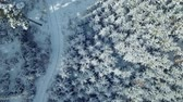 diretamente acima : Flying over the snowy forest, winter landscape
