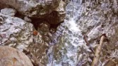 apressando : Close up of waterfall, water falling over stones in slow motion, streams falling over rocks, splashes, small mountain stream