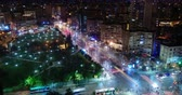 életmód : Rush hour night time lapse in city, Tirana, Albania, high vantage point