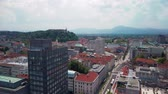 katedral : Ljubljana, Slovenia - June 20 2019: Panoramic view of Slovenia capital from the terrace of the Intercontinental hotel