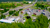 logistika : Celje, Slovenia - July 6 2019: Aerial view of Lopata truck stop and petrol station on highway A1 near Celje, Slovenia.