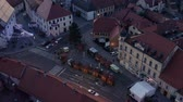 рынок : Slovenska Bistrica, Slovenia - Dec 25 2019: Closed shops on Christmas day on main square fair in Slovenska Bistrica, SLovenia, aerial view